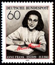 בול שיצא בגרמניה לזכרה  של אנה פרנק